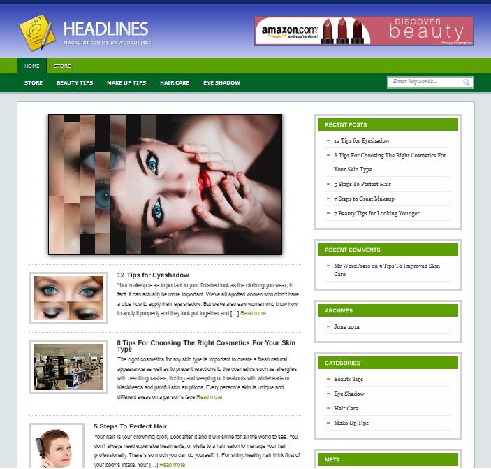 Шаблон блога WordPress Советы по красоте